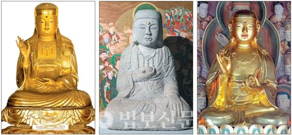 사진 왼쪽부터 선운사 지장보궁, 참당암, 도솔암에 봉안돼 있는 지장보살상.